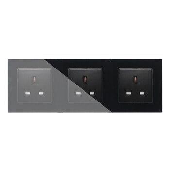 Enchufe estándar del Reino Unido, Panel de salida de vidrio endurecido de cristal blanco de 3 bandas, tomas de corriente de pared triples sin enchufe, GB-C7C3UK-12
