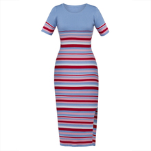 Young17 Autumn Dress Women 2017 Blue Stripe Color Block Knitted Bodycon Patchwork Mid-Calf Sexy Dress Women Bodycon Dress