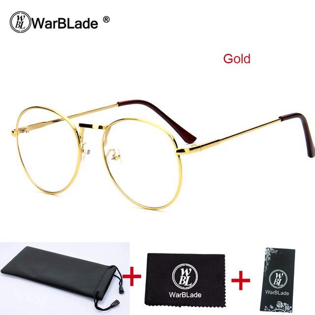 Men Women VINTAGE RETRO Nerd Style Clear Lens EYE GLASSES  Round Gold Frame