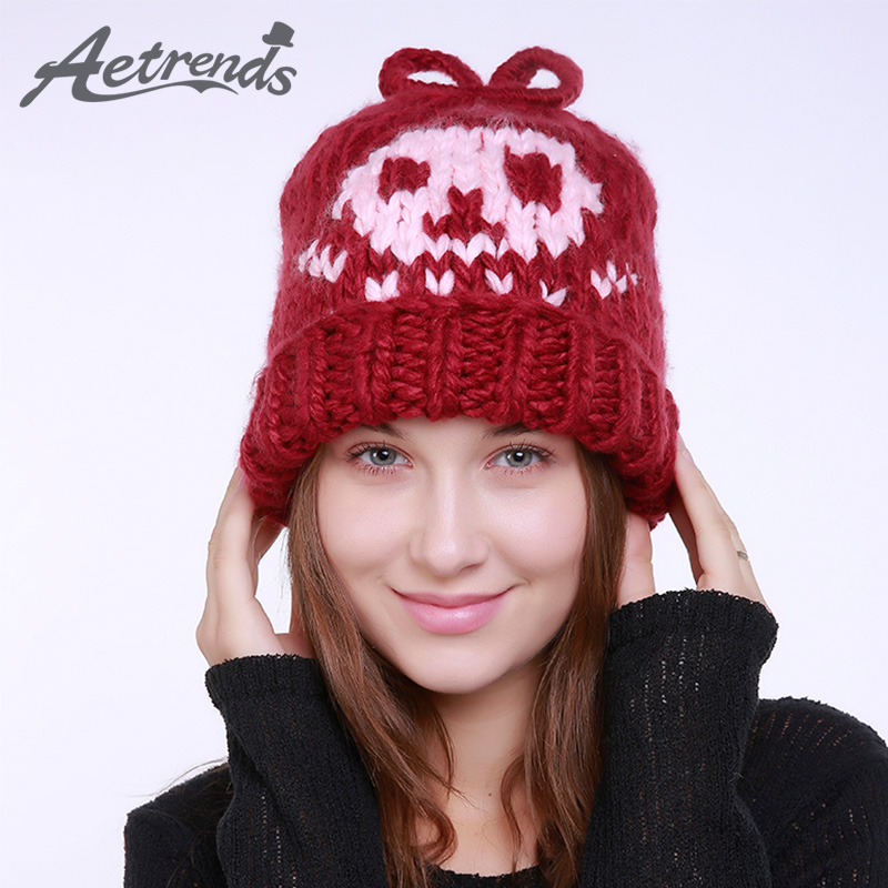 [AETRENDS] 2017 New Winter Beanie Hats for Women Warm Knitted Caps Beanies Z-5989 2016 new beautiful colorful ball warm winter beanies women caps casual sweet knitted hats for women outdoor travel free shipping