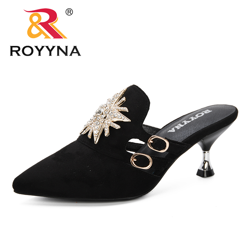 ROYYNA 2019 New Woman Flock Mlues Women Strange Style Heels Slippers Outting Loafers Flat Pointed Toe