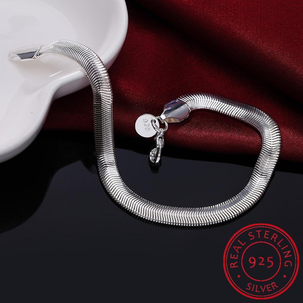 LEKANI 925 Sterling Silver Bracelets 6mm Soft Snake Bones Chain 20cm Bracelets Bangles For Men And Women Jewelry Pulsera