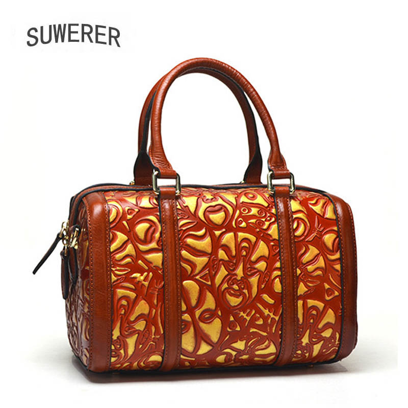 SUWERER New women leather handbag Superior cowhide Fashion embossing bags women Genuine Leather bags fashion tote Boston bagSUWERER New women leather handbag Superior cowhide Fashion embossing bags women Genuine Leather bags fashion tote Boston bag