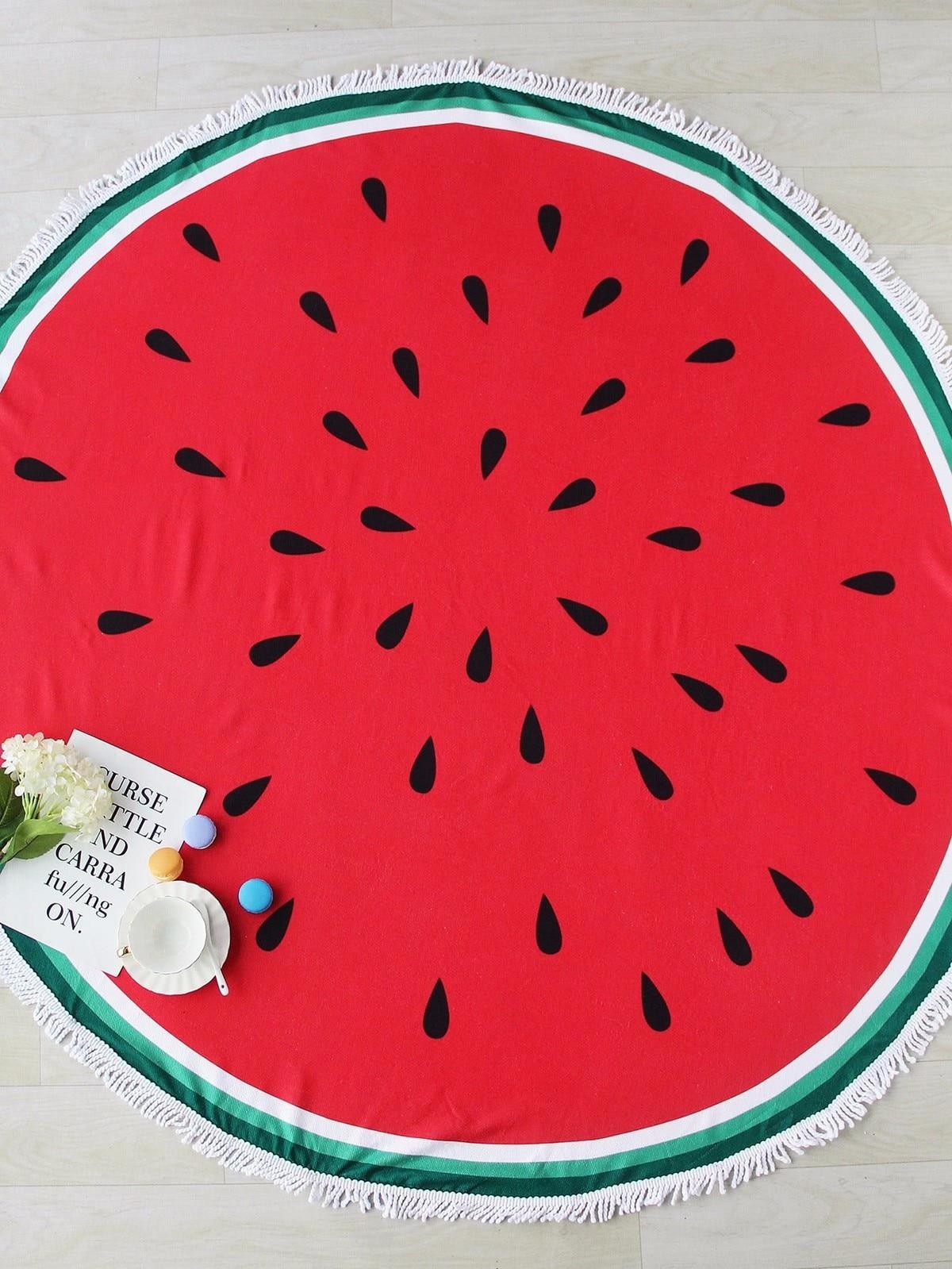 Donut Pizza Pineapple Large Round Microfiber Beach Towel Circle Tassels Watermelon Hamburger Cotton Bath Mat Serviette De Plage