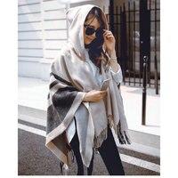 Guttavalli Autumn Woman Striped Hooded Cape Poncho Winter Magic Collar Cashmere Sweater Outdoor Wear Tassels Cardigan Coat Shawl