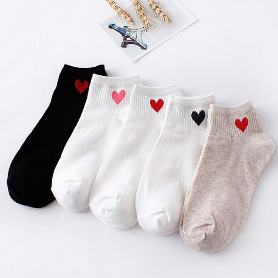 Socks Women Calcetines Skarpetki Warm 2019  Fashion Funny Socks Meias Love Heart Cotton Casual Style Low Boat Soft Cotton Sock