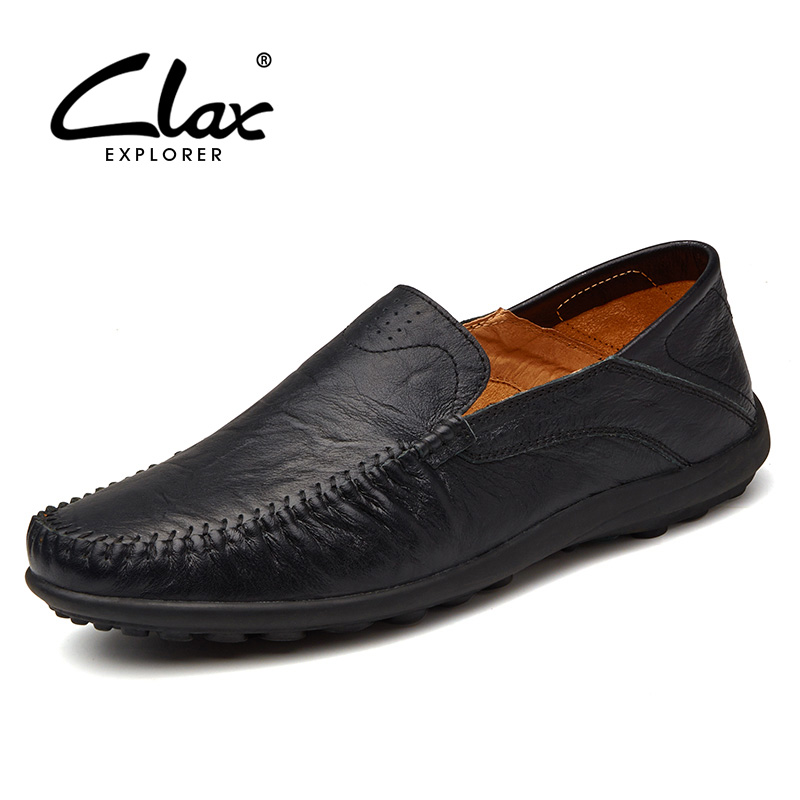 CLAX Men's Loafers Genuine Leather 2018 Spring Summer Men Casual Shoes Slip on Designer Flat Moccasins Breathable Leisure Shoe spring high quality genuine leather dress shoes fashion men loafers slip on breathable driving shoes casual moccasins boat shoes