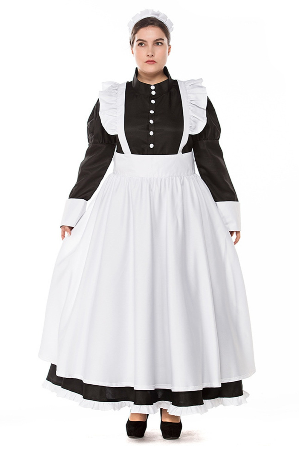 Big fat people dress export British style pearl line Dress Long coffee shop maid Dress wear British COS clothing