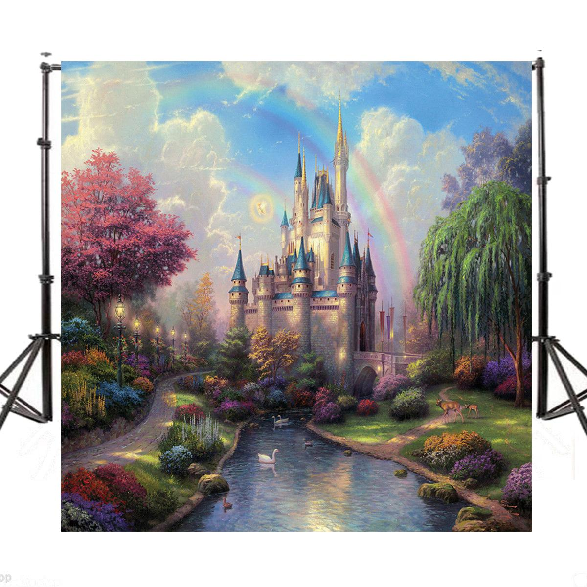 6x6ft Fairytale Castle River Baby Photography Background Vinyl Photo Backdrops 2018 New Arrival kate 300x600cm photography background castle photography baby backdrops castle creek cartoon background newborn photograph