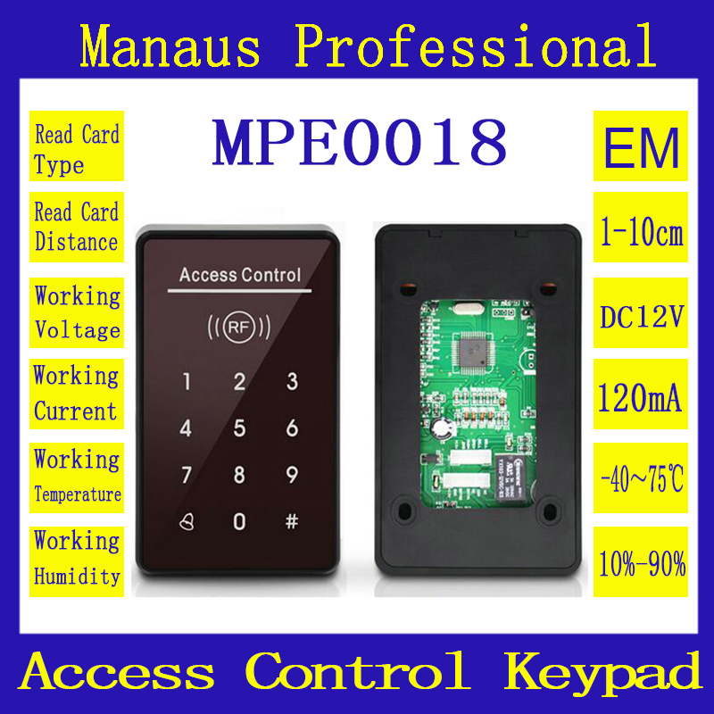 Wholesale Hot Selling 125 khz RFID touch keyboard access control system support reader 1000 user ID Card crystal keypad E18 metal shell touch keyboard 125khz rfid access control system entrance guard password and rfid 10pcs crystal keyfob