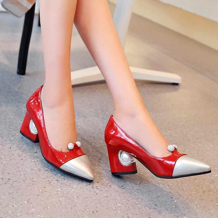Büyük boy 11 12 13 14 15 16 17 bayanlar yüksek topuklu kadın ayakkabı kadın pompaları kaba topuk sığ ağız paket topuk su matkap
