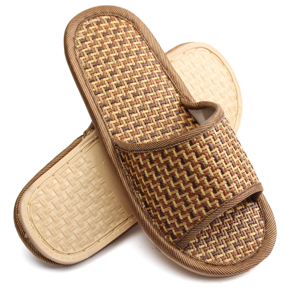 200pcs/lot Natural Bamboo Shoes Summer Flax Slipper Home Indoor Antiskid  And Women Rattan Mat Bottom Cool Slippers 6