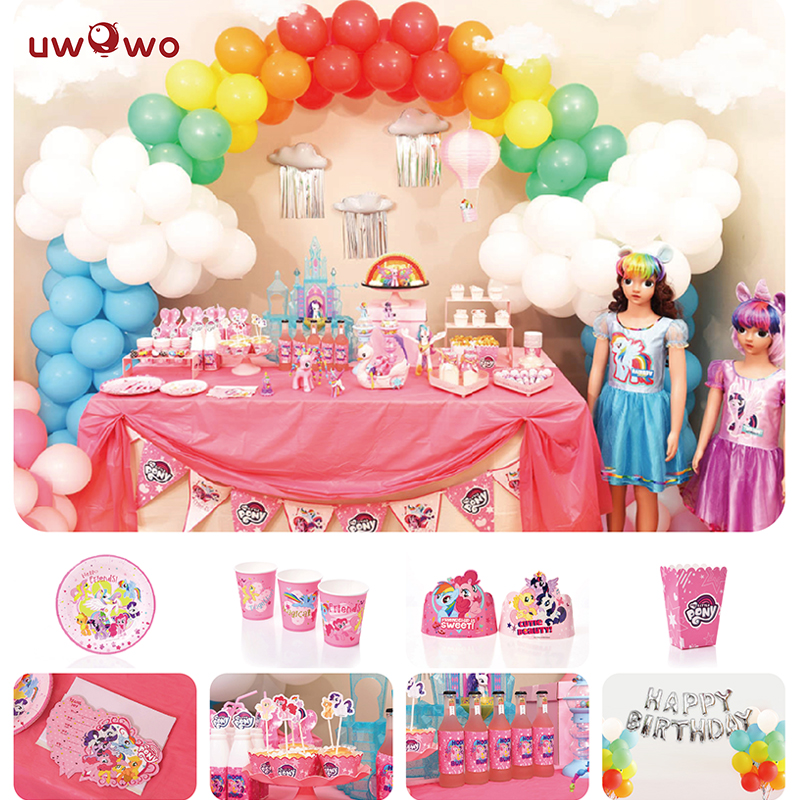 UWOWO  Birthday Party Decoration  My Little Pony Party Ornaments Full Set Welcome Party Ornament Cosplay Costume