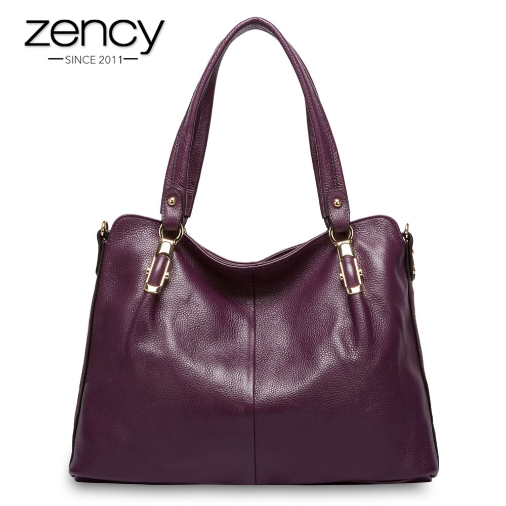 Zency роскошное фиолетовое Для женщин сумка 100% натуральная кожаная сумка моды Hobos кошелек Шарм Леди Crossbody Курьерские сумки
