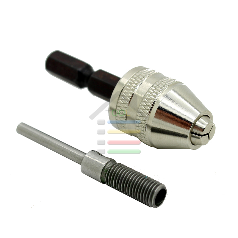 AUTOTOOLHOME 0-4mm Grinder Keyless Drill Bit Chuck Quick Change Adapter Converter 3mm Shaft +6.35mm Hex Rod Rotary Tools flex flexible bendable extended magnetic shaft screwdriver bit holder 1 4 hex drive drill bit extension rod with keyless chuck