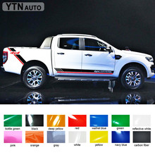 free shipping 4 PC car accessories decals side door rear trunk 4X4 stripe graphic Vinyl stickers for Ford ranger 2012-2017