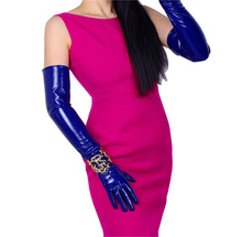 Patent Leather Long Gloves Female Super Long PU Simulation Leather Bright Leather Mirror Treasure Blue 60cm Woman Gloves P57
