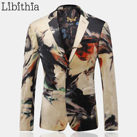 Male Fashion Vintage Blazer Men High Quality Slim Fit jacket Outerwear Luxury Dress Clothing Fancy Art Printed Suit Coat K209