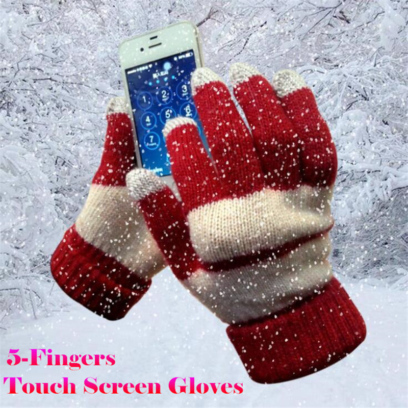 400p!Winter Sporting Warm Lovers 5-Finger Touch Screen Gloves For Iphone/ipad All Smartphone,Soft Rabbit Woolen,High Sensitivity
