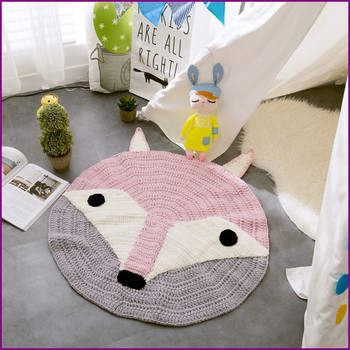 New Crochet Round Rugs and Carpets for children room decoration Kids Baby Blanket Game Mat Pink 80cm Playmat knitting rustica mini noce slate 12 in x 12 in x 8 mm porcelain mosaic tile backsplash images
