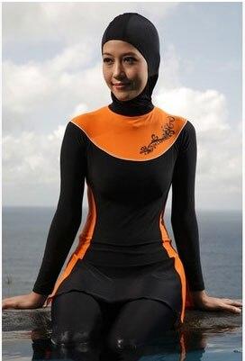 Мусульманские купальники Исламская Купальные костюмы пляж купальники для женщин 4 шт./лот DHL - Цвет: Оранжевый