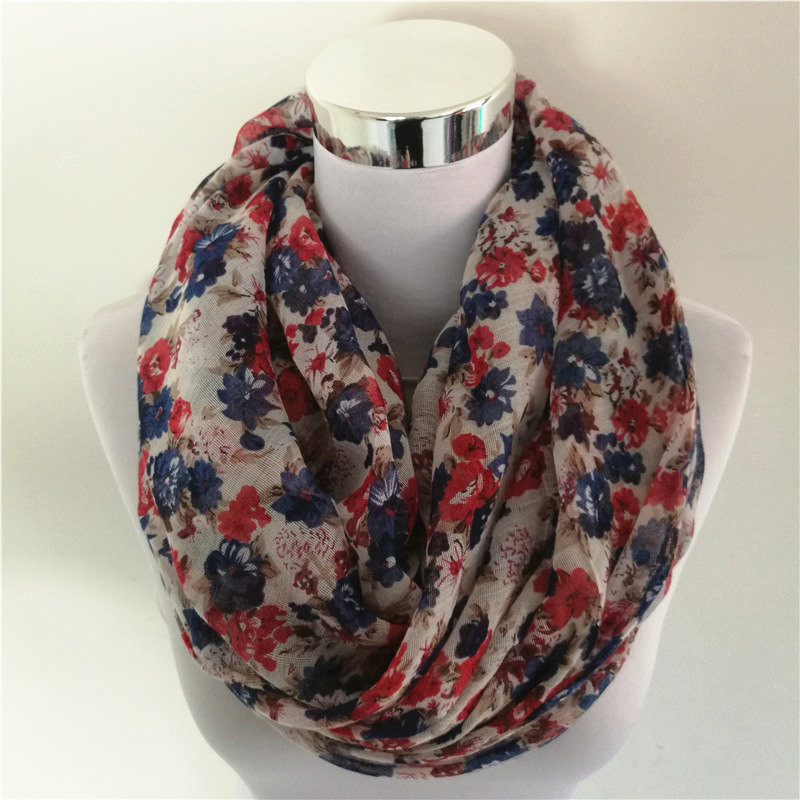 Hot SellinWarm Women Flower Loop Scarf femminile Small Rose Print - Accessori per vestiti