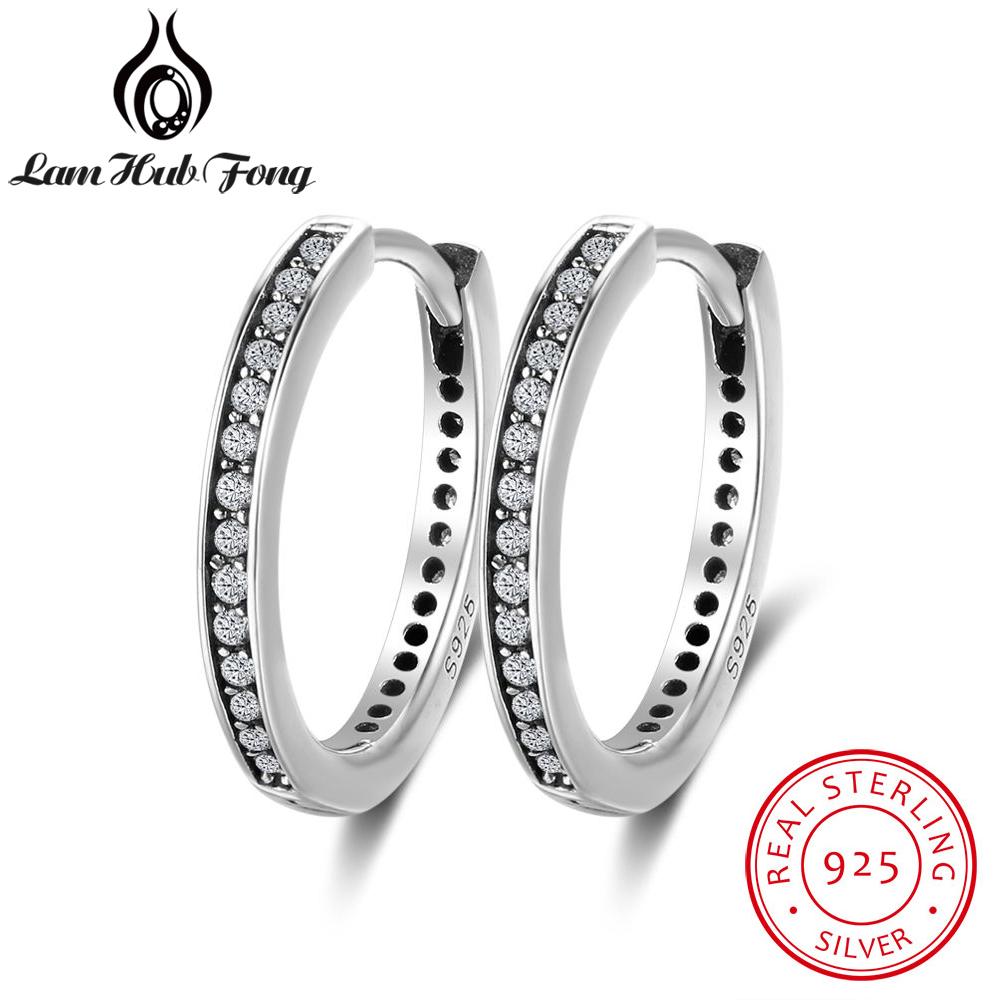 Genuine 925 Sterling Silver Cubic Zirconia Round Circle Hoop Earrings For Women Vintage Style Gifts For Girls (Lam Hub Fong)