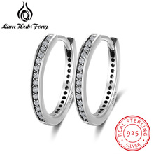 Genuine 925 Sterling Silver Cubic Zirconia Paved Round Circle Hoop Earrings For Women Simple Style Fine Jewelry (Lam Hub Fong)