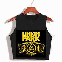 Women S Linkin Park Hip Hop Black Crop Top T Shirt 2017 Summer 90s Cropped Tank