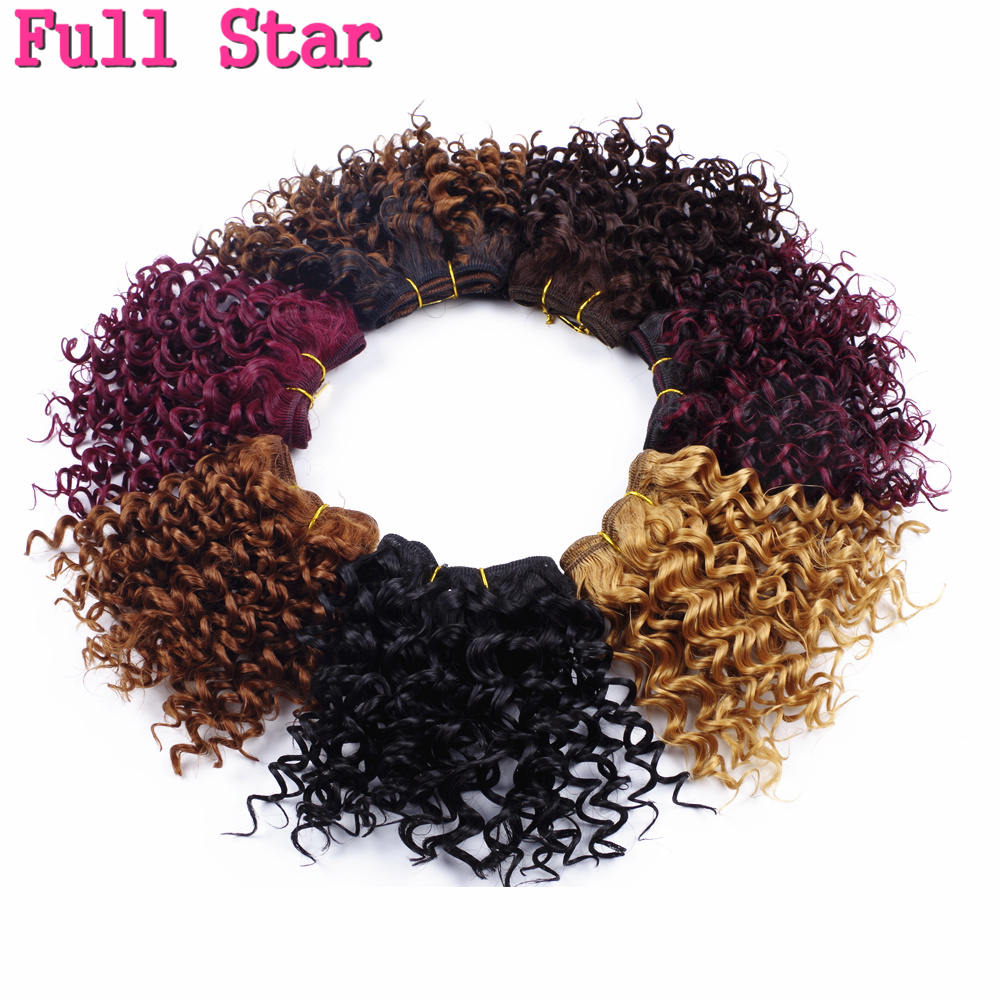 """Full Star 5"""" Afro Kinky Curly Hair Weaving Synthetic Hair Extensions Crochet Hair Weft Black 105g per lot 3pcs/lot Bug Brown"""
