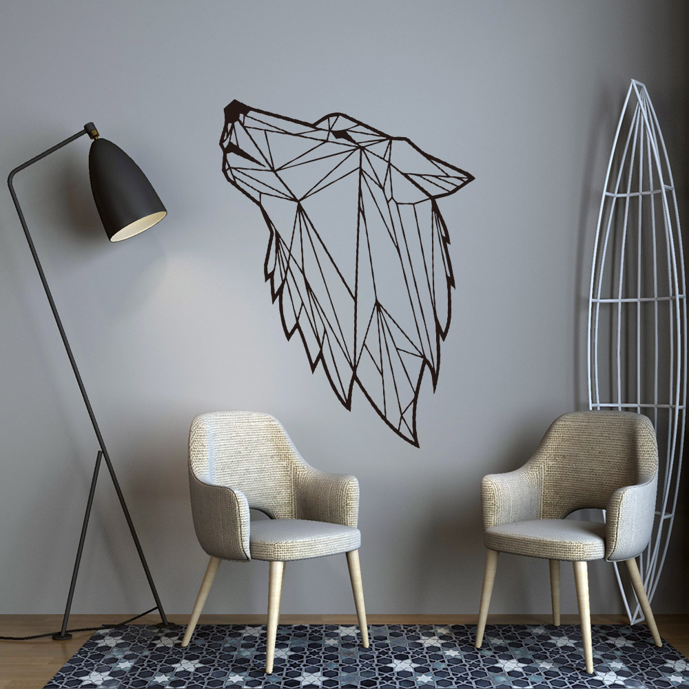 Creative Geometry Wolf Loup Wall Sticker For Room Decoration Decor Living Bedroom Removable Decal Mural wallstickers