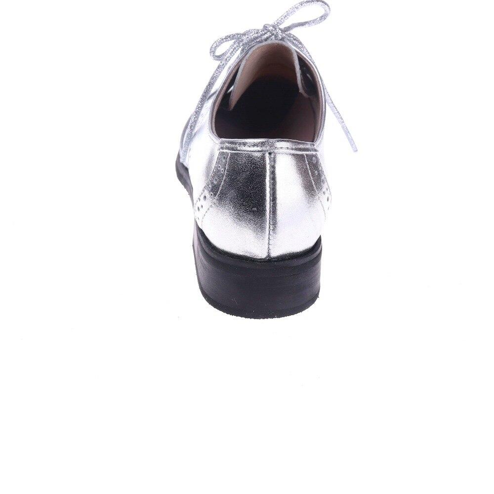 silver 2019 À Main Lacent Britannique Véritable Cuir Pour Oxford En Femme La Chaussures Richelieus Gray De Femmes Style Appartements Derbies 4ARjL35