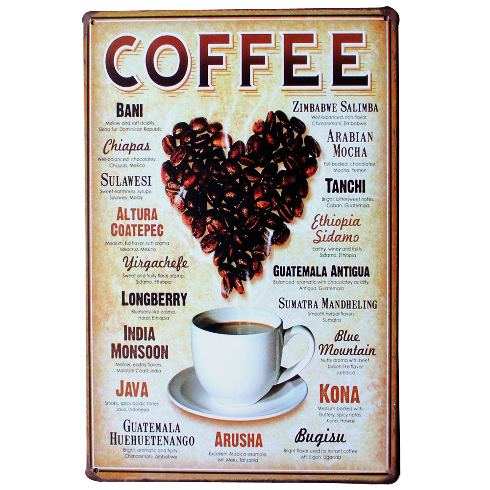 LOVE HEART COFFEE Metal Tin Plaque Vintage Beer Decor Sign heart