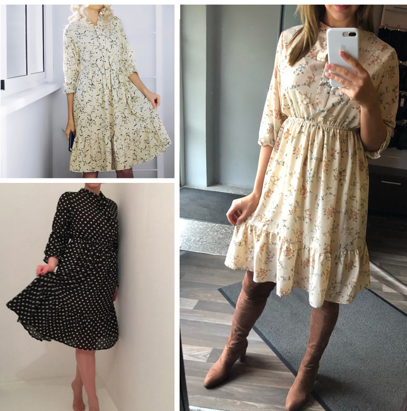 19 Autumn Winter Dress Women Chiffon Midi Casual Red Floral Long Sleeve Office Dress Polka Shirt For Ladies Dress Vestidos 3