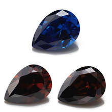 2x3~10x12mm 5A NewBlue Coffee and Rhodolite Color Synthetic Pear Shape Cubic Zirconia Stone