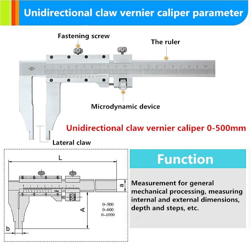 Pince unidirectionnelle 0-1000mm curseur étrier carte de marquage d'huile échelle en acier inoxydable pied à coulisse - 5