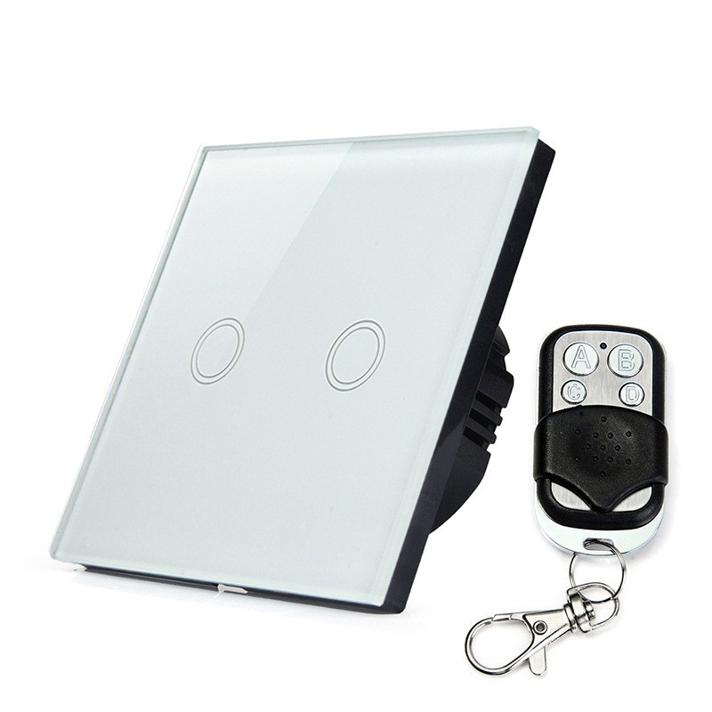 Wholesale-EU-UK-2Gang-1-Remote-Control-Wireless-Wall-Touch-Switch-Crystal-Glass-Wall-Swiths-Touch