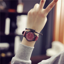 Simple Wooden Leather Quartz Watch for Women
