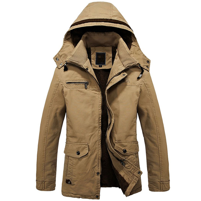 Fashion Men Winter Jackets Thicken Wool Liner Military Coats 2016 Warm Hooded Parka Jacket Men Plus Size Overcoats M-4XL