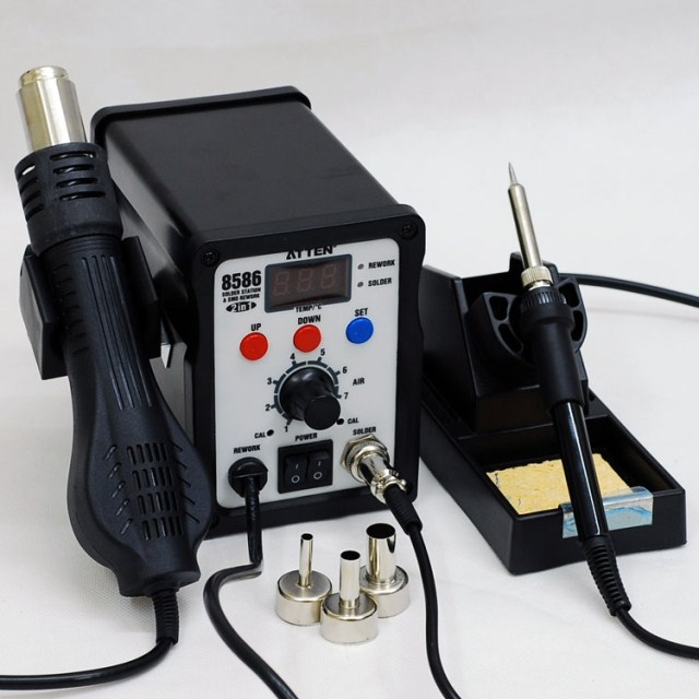 цена на Free Ship 220V/110V YOUYUE8586 Heat Hot Air Gun Rework Station Soldering Station Soldering Iron+Hot Air Gun