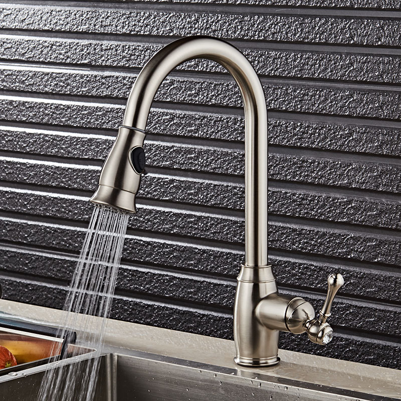 Nickel Single Handle Kitchen Faucet Mixer Pull Out Kitchen Tap Single Hole 360 Rotate Copper Chrome Swivel Sink Mixer Tap new arrival pull out kitchen faucet chrome black sink mixer tap 360 degree rotation kitchen mixer taps kitchen tap