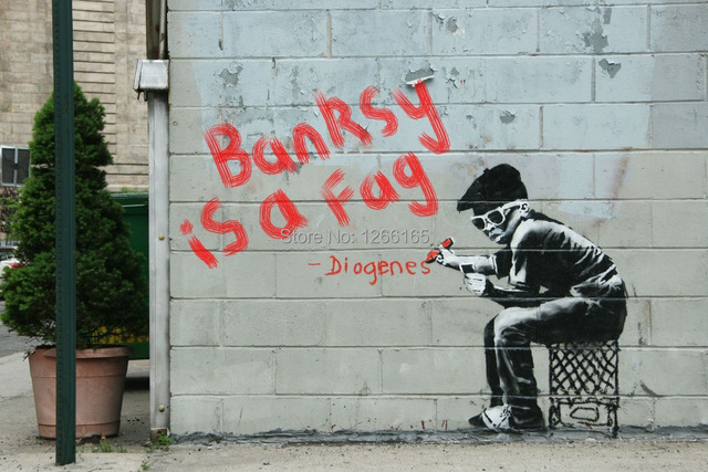 Banksy Graffiti Is A Fag Print On Canvas Abstract Street Art Home Deco Wallpaper Collectibles
