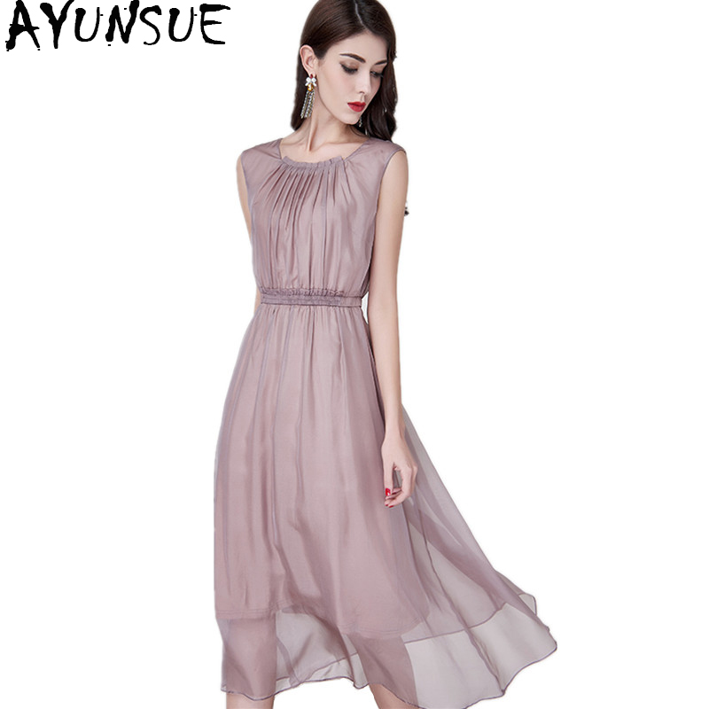 AYUNSUE 2018 Casual Natural Silk Long Dress Summer Women Solid Sleeveless Evening Party Dresses Vestido Elegant Plus Size YQ1363