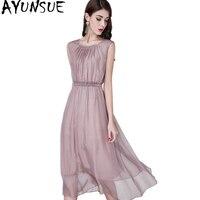 Ayunsue 2018 Повседневное натуральный шелк длинное платье Лето Для женщин без рукавов Вечеринка платья Vestido элегантный плюс Размеры YQ1363