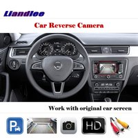 Liandlee Auto Reverse Rear Camera For Skoda Rapid 2012 2018 / HD CCD Back Parking Camera Work with Car Factory Screen