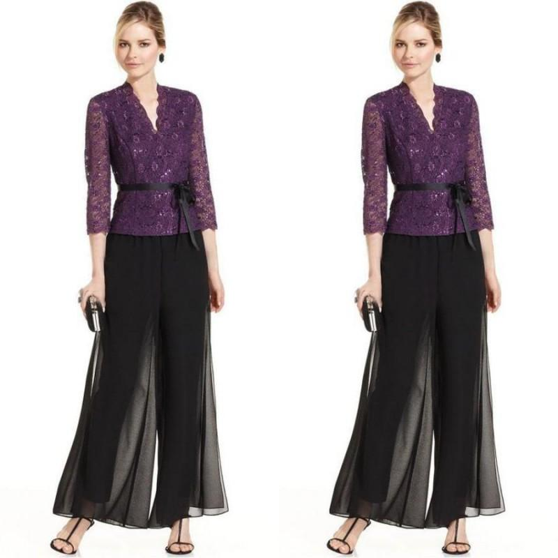 2019 Two Pieces Mother Of The Bride Dresses Pant Suits Puple Lace Coat Black Chiffon Pant Formal Wedding Guest Dress With Sash