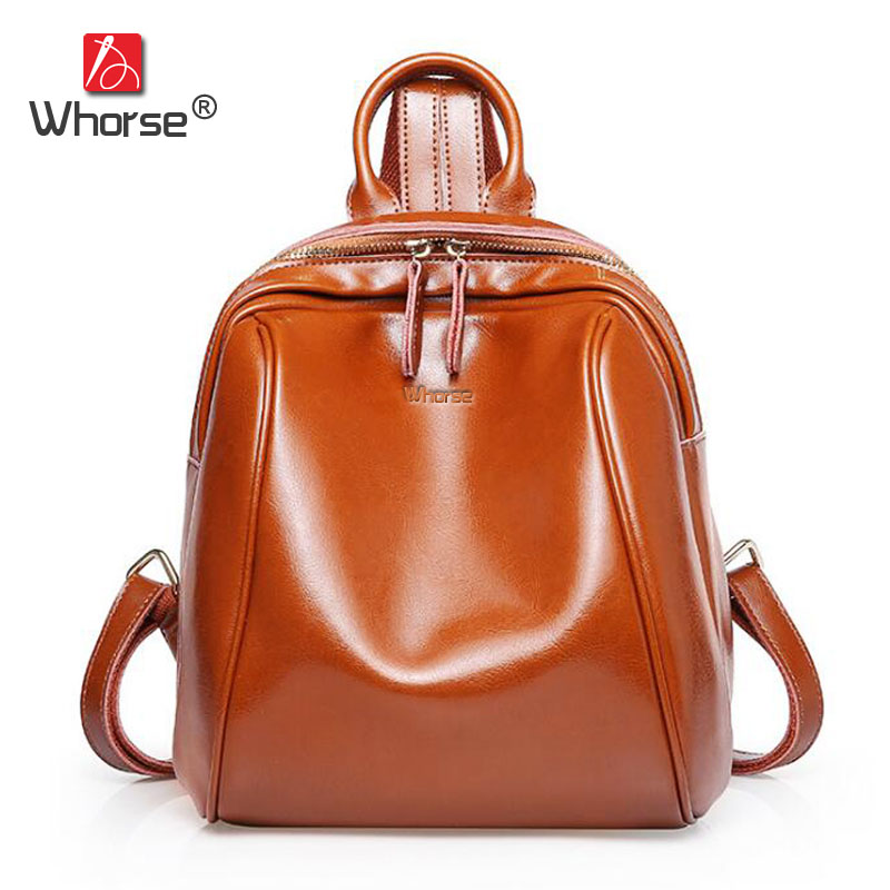 [WHORSE] Famous Brand Vintage Genuine Leather Backpack Women Cowhide Backpacks Back Pack High Quality School Travel Bags W08700 auto clud car led tail lamp for toyota camry tail lamps 2006 2009 rear trunk lamp cover drl signal brake reverse led lights