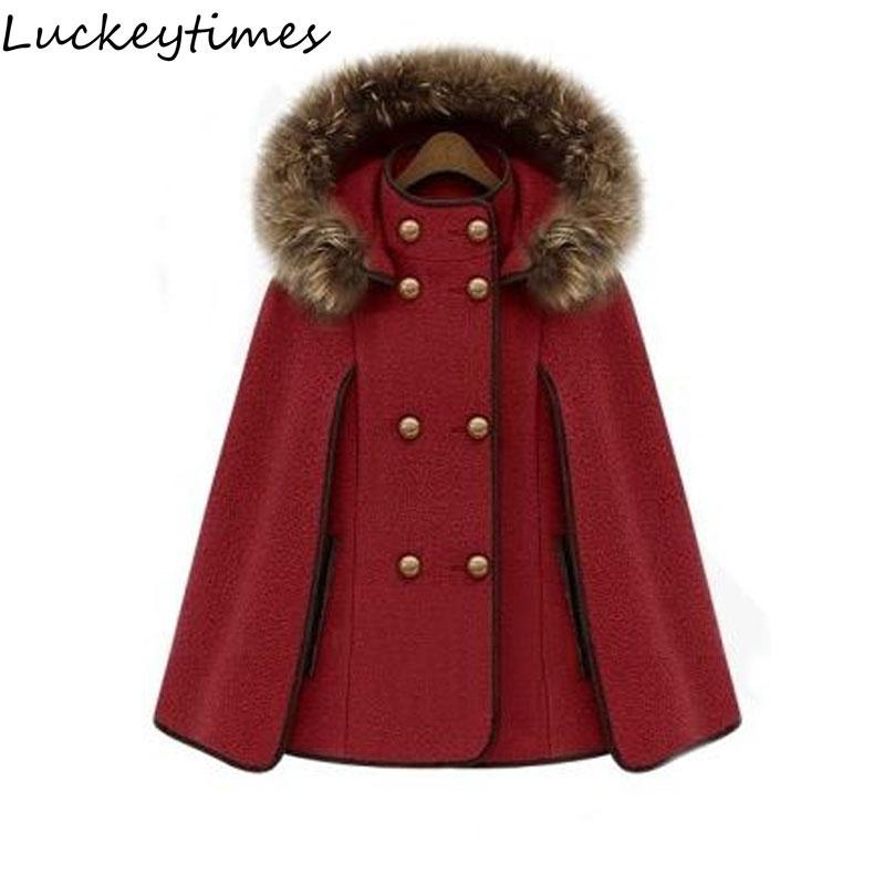 2017 New Fashion Women Red Cloak Loose Coat Ladies Fur Collar Double Button Fashion OL Female Overcoat XS S M L XL