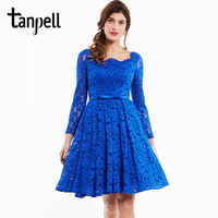Tanpell Scalloped Cocktail Dress Dark Royal Blue Full Sleeves Knee Length A Line Gown Lady Lace