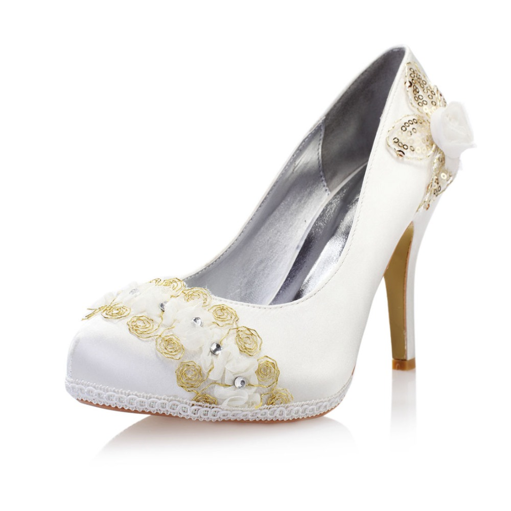 crystal flower bridal shoes round toe high heels lace slip on satin shoes pumps font b